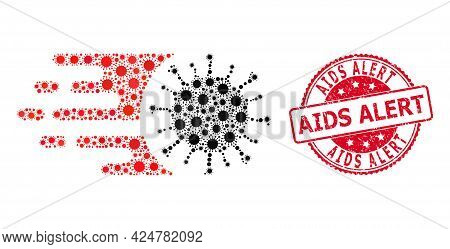 Vector Collage Rush Virus Of Virus Items, And Aids Alert Dirty Round Seal Imitation. Virus Items Ins