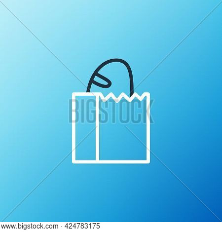 Line Paper Bag With Bread Loaf Icon Isolated On Blue Background. Colorful Outline Concept. Vector