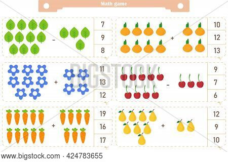 Math Game For Children. Addition And Subtraction. The Score Is 1-20. Find The Correct Answer. Vector