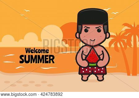 Cute Boxer With A Summer Greeting Banner Cartoon Vector Icon Illustration. Design Isolated On Blue.