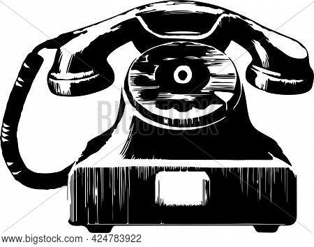 Telephone Vector On White Background , Technology, Telephone