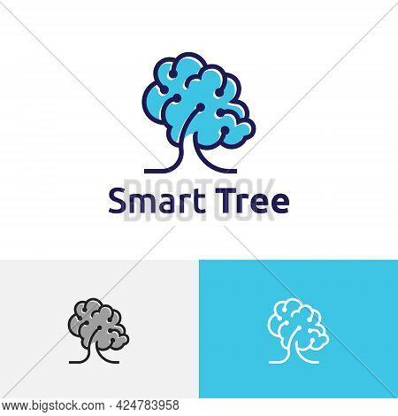 Smart Tree Artificial Intelligence Brain Technology Nature Science Computer Logo