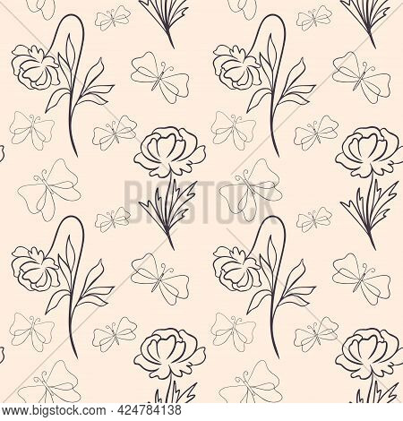 Seamless Pattern With Flowers And Butterflies, Vector Illustration. Continuous Background With Moths