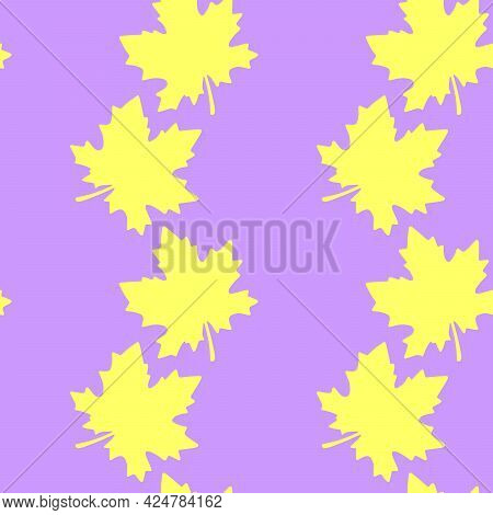 Seamless Pattern Of Silhouette Yellow Leaves Of Maple Or Grapes Vine Isolated. Simple Vector Texture