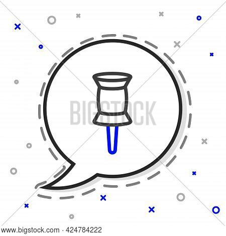 Line Push Pin Icon Isolated On White Background. Thumbtacks Sign. Colorful Outline Concept. Vector