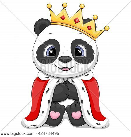Cute Cartoon Panda King With Crown And Royal Robe. Vector Animal Illustration Isolated On White.
