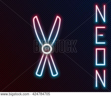 Glowing Neon Line Gardening Handmade Scissors For Trimming Icon Isolated On Black Background. Prunin