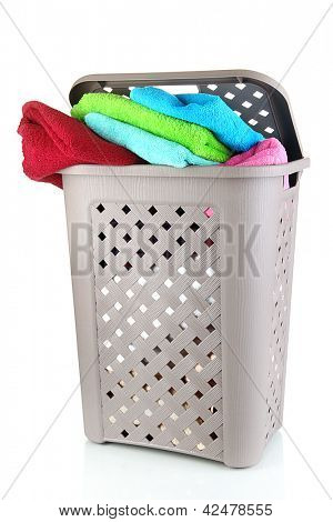 Beige laundry basket isolated on white