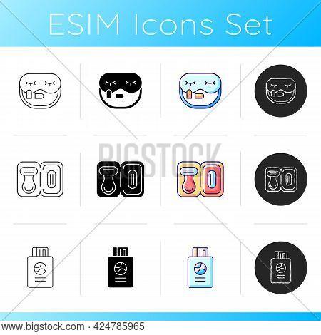 Traveller Luggage Icons Set. Sleep Mask With Earplugs For Flight Comfort. Mini Size Razor For Shavin