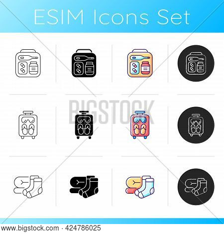 Airplane Passenger Travelling Things Icons Set. First Aid Kit. Suitcase With Tourist Stuff. Socks An