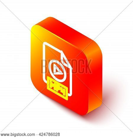 Isometric Line Mp4 File Document. Download Mp4 Button Icon Isolated On White Background. Mp4 File Sy