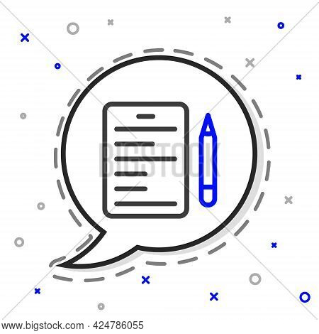 Line Scenario Icon Isolated On White Background. Script Reading Concept For Art Project, Films, Thea