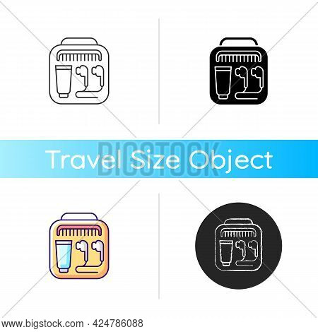 Airline Amenities Icon. Handbag With Portable Stuff For Trip Comfort. Essential Things For Tourist.