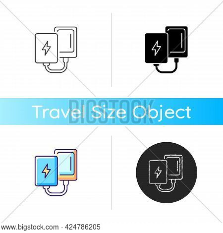 Power Bank Icon. Compact Charger For Mobile Phone. Portable Amenities. Essential Things For Tourist.