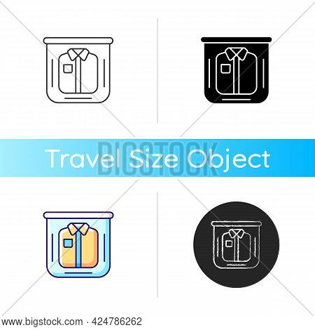 Clothing In Plastic Bag Icon. Clear Compress Wrap For Garment Packing. Essential Things For Tourist.