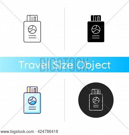 Passport With Tickets Icon. Citizen Document With Pass For Flight. Traveller Amenity. Essentials For