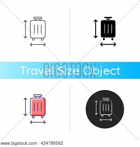 Baggage Size Icon. Measuring Luggage For Airport Regulation. Suitcase Check For Flight. Essential Th