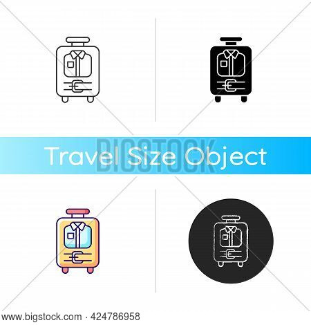 Open Suitcase With Clothing Icon. Garments And Apparel In Traveller Baggage. Essential Things For To