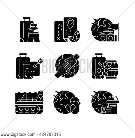 Types Of Tourism Black Glyph Icons Set On White Space. International Trip For Recreation And Enterta
