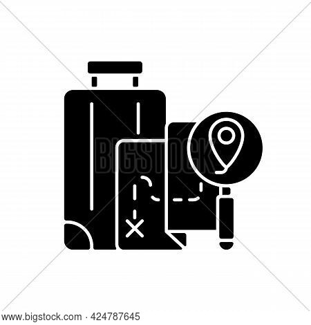 Diy Travel Black Glyph Icon. Plan Trip Destination For Vacation Journey. Traveller Suitcase And Map