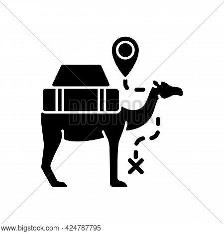 Camel Caravan Black Glyph Icon. Travel In Egypt. Mammal For Safari Transportation. Explore Desert, D