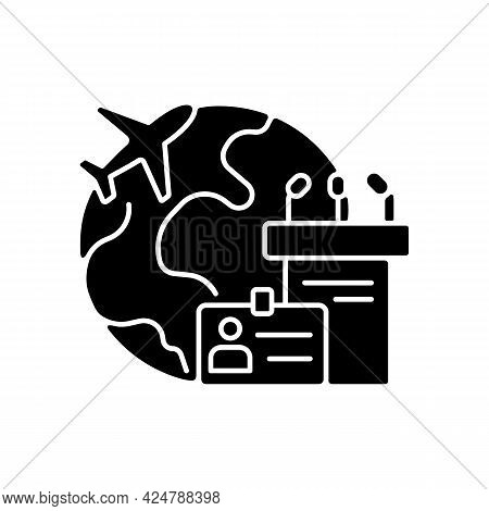 Mice Tourism Black Glyph Icon. Business Trip. International Flight For Professional Meeting. Journey