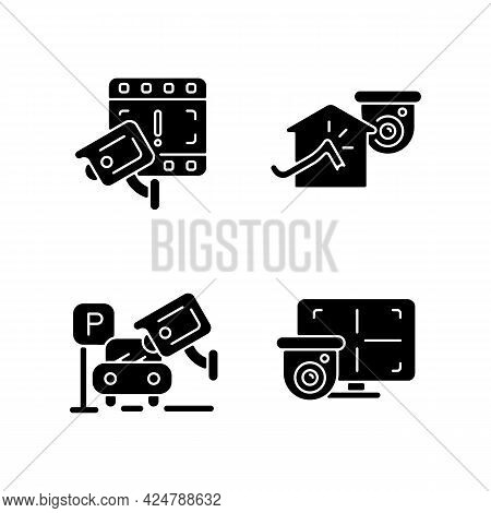 Family And Property Protection Black Glyph Icons Set On White Space. Boon To Police Investigation. A