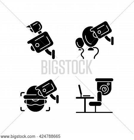 Surveillance Management Black Glyph Icons Set On White Space. Floodlight Camera. Event Security. Cri