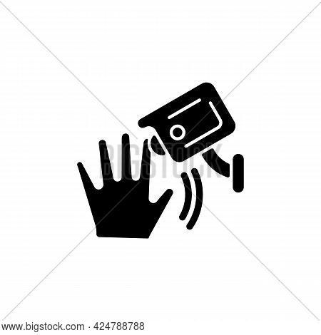 Motion Detection Camera Black Glyph Icon. Security Control. Detecting Human Movement. Sensitivity Le