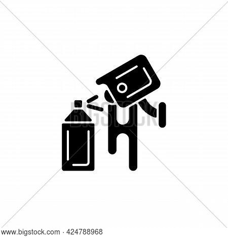 Avoiding Graffiti Damage With Security Camera Black Glyph Icon. Vandalism Prevention. Scare Away Pot