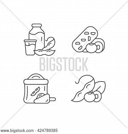 Soy Meals Linear Icons Set. Organic Soybean Based Flour. Healthy Plant Milk. Vegetable Snacks. Custo