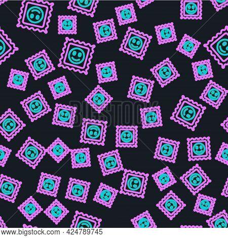 Line Lsd Acid Mark Icon Isolated Seamless Pattern On Black Background. Acid Narcotic. Postmark. Post
