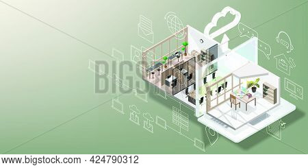 Work From Home Concept Is Presented In Isometric Style Of Home Office And Laptop With Video Conferen