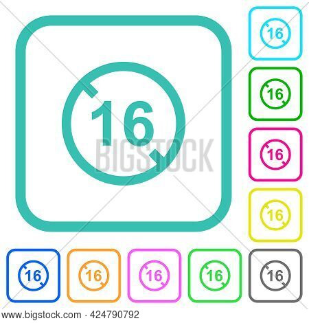Not Allowed Under 16 Vivid Colored Flat Icons In Curved Borders On White Background