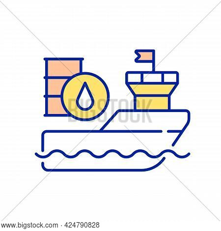 International Freight Shipping Rgb Color Icon. Carrying Liquid Cargo. Fuel Tanks. Petroleum Products