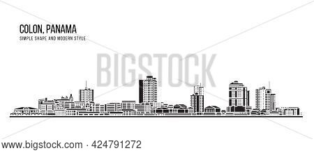 Cityscape Building Abstract Simple Shape And Modern Style Art Vector Design - Colon City, Panama