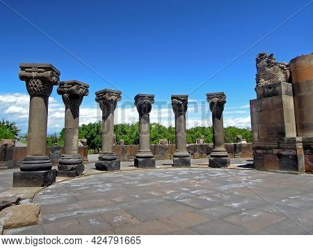 Colonnade Of Ruined Ancient Christian Armenian Temple Zvartnots, Vagharshapat, Armenia. Built In 650