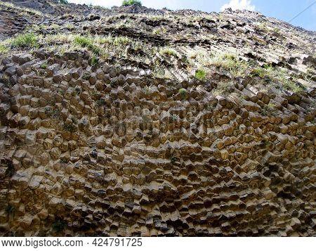 View Bottom Upwards On The Basalt Columns, Known As Symphony Of Stones, Gorge Garni Near The Village