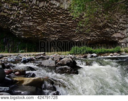 View On The Basalt Columns, Known As The Symphony Of Stones, And The Raging Waters Of Azat River, Go