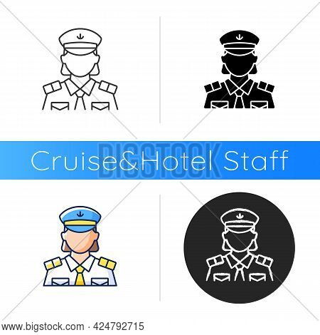 Female Chief Officer Icon. Helping Ship Captain Controlling Staff. Crew Member Of Cruise. Making Tra