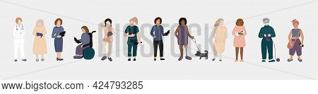 Women Of Different Profession, Age And Ethnicity, Hand Drawn Vector Illustration. Set Of Women - Tea