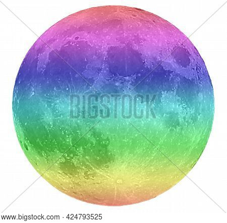 Multicolored Very Big  Moon On Black Sky Without Stars At Midnight On White Background