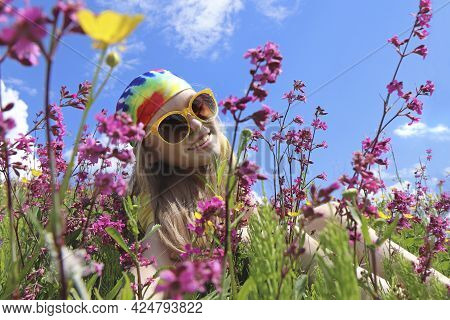 Portrait Of A Girl In The Summer In A Regiment Among Bright Flowers.