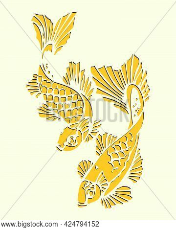 Sketch Of Pair Fish Outline Or Silhouette Editable Illustration