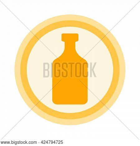 Bottle Of Rum. Background Is Circle. Isolated Color Object Design Beverage. Graphic Illustration In
