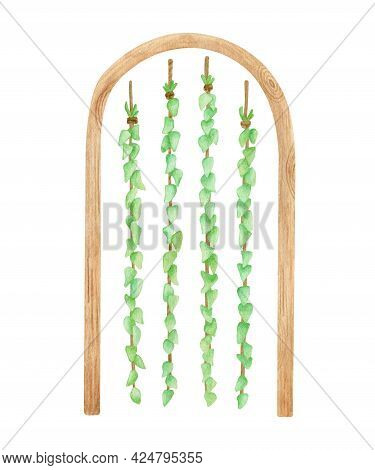 Watercolor Wood Wedding Arch With Greenery Garland. Hand Drawn Semi Circle Wooden Archway And Hangin