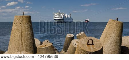 Maritime Transport  - Passenger Ferry And Bulk Carrier On Waterway To The Port