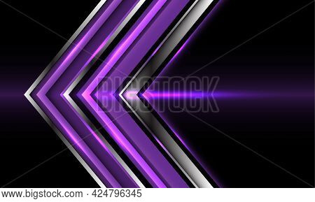 Abstract Purple Silver Arrow Direction On Black Design Modern Futuristic Technology Background Vecto