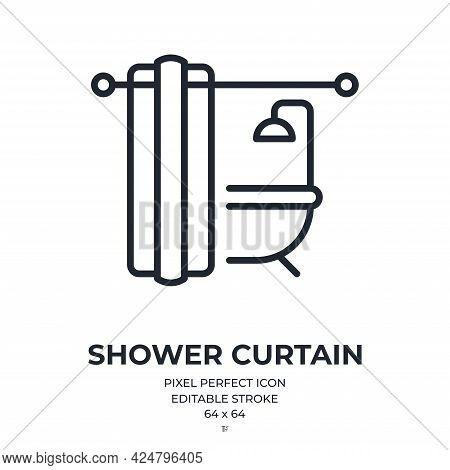 Shower Curtain Editable Stroke Outline Icon Isolated On White Background Flat Vector Illustration. P