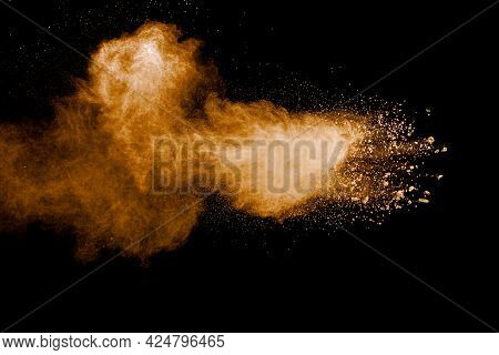 Freeze Motion Of Brown Dust Explosion.stopping The Movement Of Brown Powder.explosive Brown Powder O